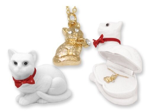Cat Kitten Kitty Crystal Pendant Necklace With Chain Velour Gift Box