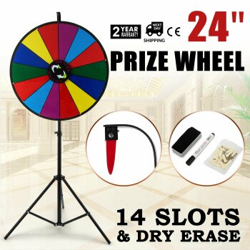 60cm Party Prize Wheel Editable Dry Erase Spin Win Fortune Spinning Stand Game