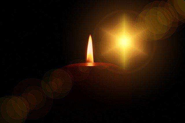 candle, light, evening