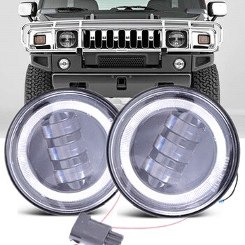 Fit for 2003-2009 Hummer H2 Led Fog Light DRL White Halo Ring 4inch 30W Refit Car Accessories