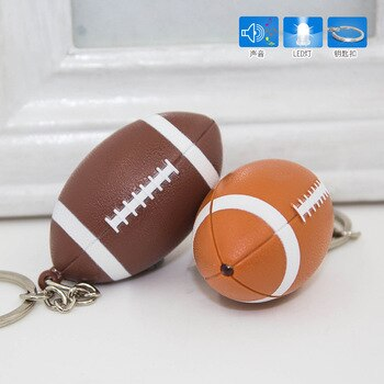 FREE SHIPPING BY DHL 100pcs/lot 2019 New LED Plastic Rugby Keychains with Sound American Football Keyrings for Gifts