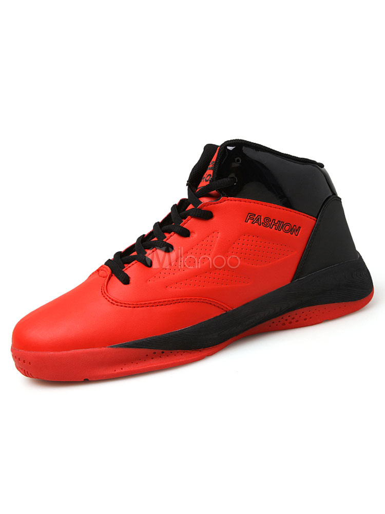 Men's Red Sneakers Round Toe Lace Up High Top Basketball Shoes
