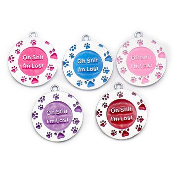 """Wholesale 100Pcs """" Oh Shit I am Lost """"Personalized Dog Tags Cat Puppy Pet ID Name Collar Tag Pendant Pet Accessories"""