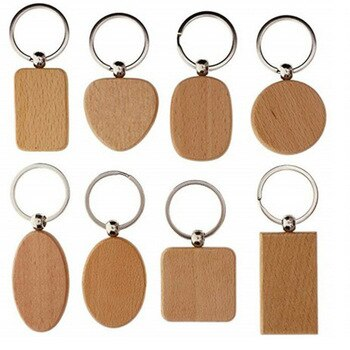 Wholesale 100pcs Wooden Key Chain Blank Tags Personalized Dog ID Tags keychains Customized Tag Custom Engraved Logo Name ID Tag
