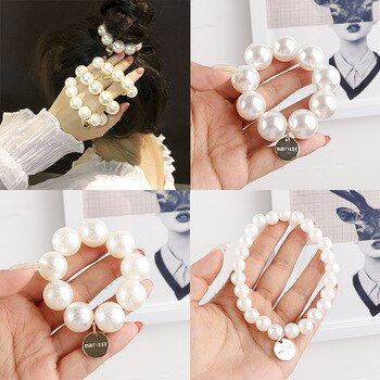 60pcs/lot DIY Simple Pearl Hair Bands Elasticity 3 Size For Choice Cute Rubber Band Hair Styling Tools Accessories HA1210