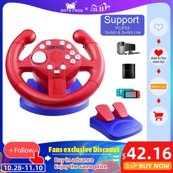 DATA FROG Racing Steering Wheel For Nintend Switch Lite Game Joysticks Remote Vibration Controller Wheels Drive For NS/PC/PS3