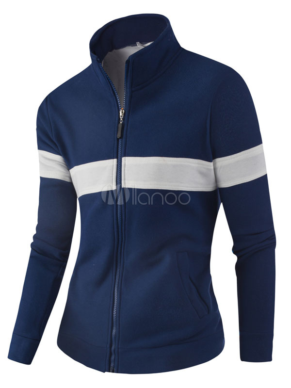 Men's Track Jacket Stand Collar Striped Long Sleeve Zip Up Sports Jacket