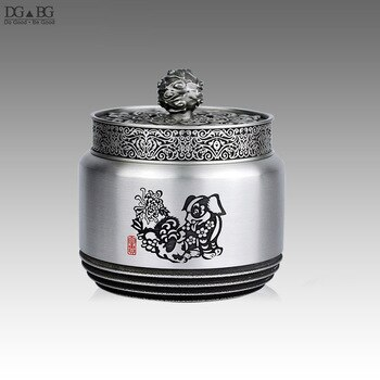 Pure Tin Ash Urn Twelve Chinese Zodiac Casket For Cremation Memorial Tin(Sn) Container