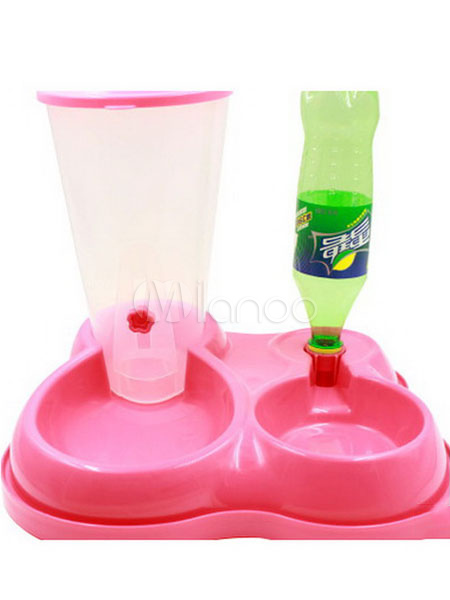 Water Food Feeder Dog Cat Pink Automatic Dish Drinking Double Bowl Dispenser Halloween
