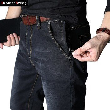 2020 New Men's Brand Jeans Loose Straight Elastic Anti-theft Zipper Denim Pants Male Big Size 40 42 44 46 48