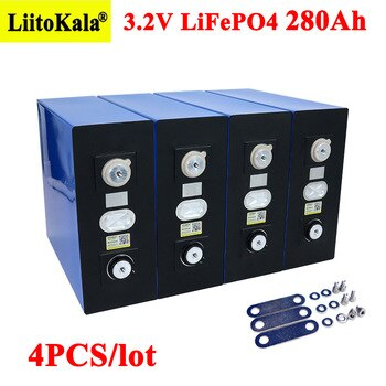 4x Liitokala 3.2V 280Ah lifepo4 battery DIY 12V 280AH Rechargeable battery pack for Electric car RV Solar Energy storage system