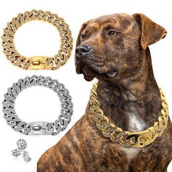 Dog Chain Collar Strong Metal Stainless Steel Pet Dog Training Collar For Medium Large Dogs Pitbull French Bulldog Show Collar