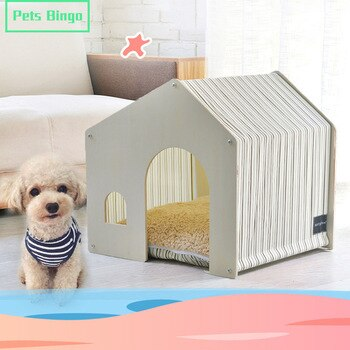 Pets Bingo Detachable Wooden House Washable Cat Tent Breathable Dog House Indoor Suitable for 52cm Dog Bed