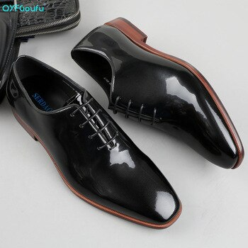 QYFCIOUFU Brand Men Cow Leather Shoes Hand-polishing Lace-up Pointed Toe Office Wedding Formal Dress Shoes Men Oxford Shoes