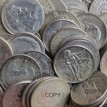 USA 1869 - 1952 61PCS Mix Date, Type Commemorative Half Dollar Copy Coins Silver Plated