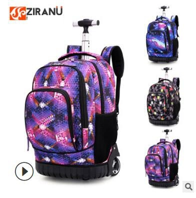 18 inch Wheeled backpack kids School backpack On wheels Trolley backpacks bags for teenagers Children School Rolling backpack