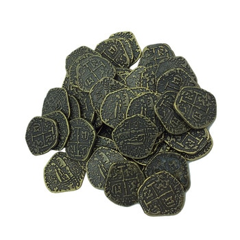 200pcs European Spain Doubloon gold coin captain pirate toy party metal coin treasure game hunt