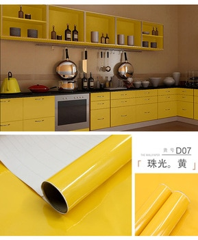 5M/10M yellow paint waterproof vinyl decorative film self adhesive wallpaper roll for kitchen furniture stickers pvc home decor