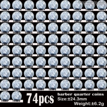 74PCS USA Old Coins 1892-1916 Barber Quarter Dollar COPY Coin 24mm Coins Cull Set collectibles