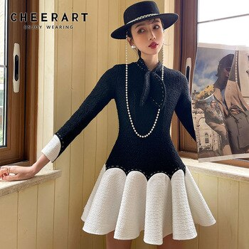 CHEERART Vintage Winter Patchwork Tweed Dress Ball Gown Bow Long Sleeve Tunic Mini Bodycon Ladies Wool Dress Designer Clothes
