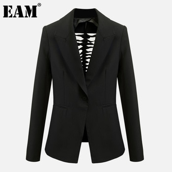 [EAM] Women Black Back Hollow Out Blazer New Lapel Long Sleeve Loose Fit Jacket Fashion Tide Spring Autumn 2020 1DA542