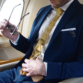 GEOMETIE Handmade Gold Triangle Diamond Shape Necktie with Luxurious Gift Box for Business, Formal dressing, Wedding, Event
