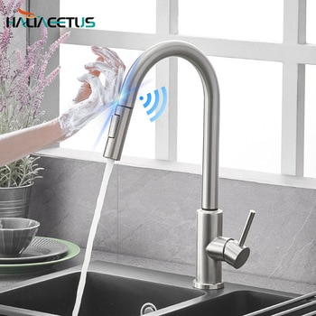 Kitchen Faucets Smart Sensor Pull-Out Hot and Cold Water Switch Mixer Tap Smart Touch Spray Tap Kitchen Convenient Sink Faucets