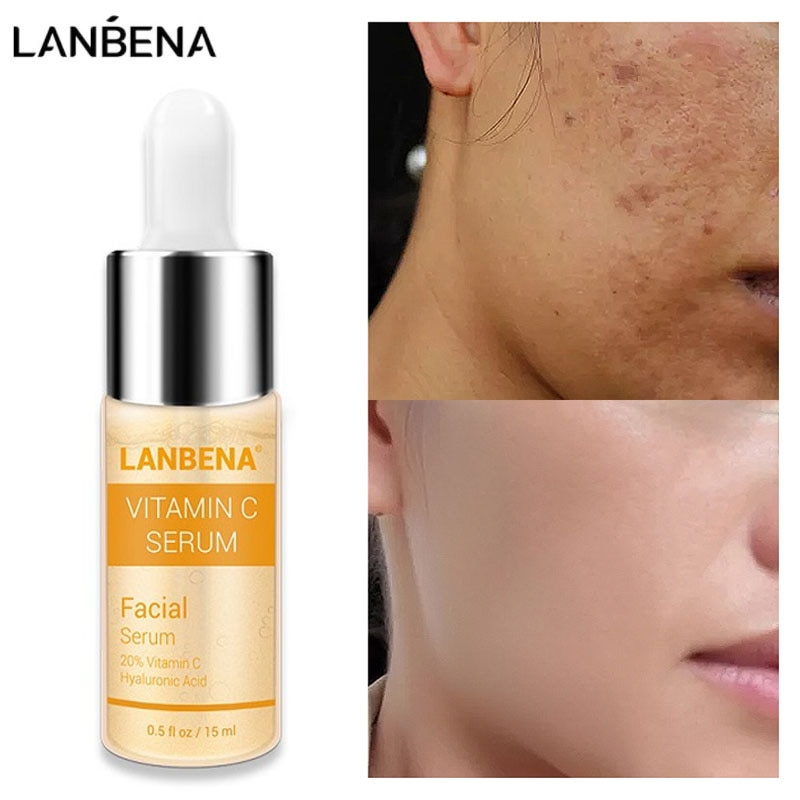 LANBENA Vitamin C Whitening Face Serum Lighten Spots Brightening Facial Skin Essence Fade Dark Spots Remove Freckle Speckle Care