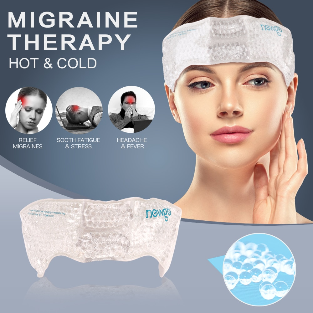 Migraine Ice Pack Head Wrap Adjustable Headache Cold Pack with Gel Bead for Pain Relief Toothaches Cold Hot Therapy for Head