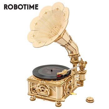 Robotime ROKR DIY Hand Crank Classic Gramophone Wooden Puzzle Model Building Kits Assembly Toy Gift for Children LKB01