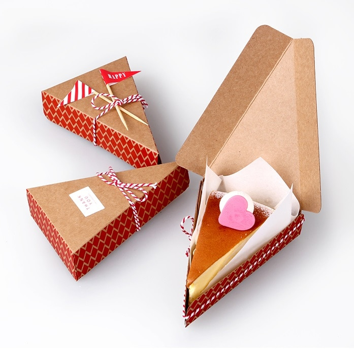 8.5*13.5*3.3cm 10 Pcs red geometry Kraft Paper Box Candy Gift Christmas Party fruit pie pizza cheese cake Gift Packing Boxes