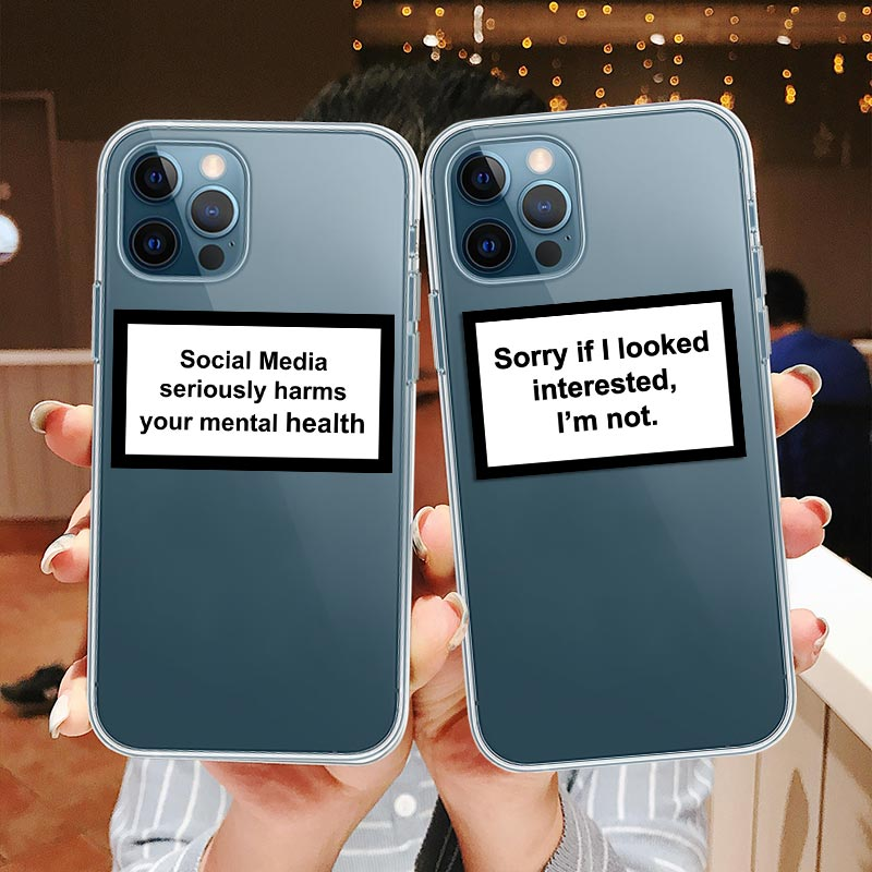 Clear Text Social Media Phone Case For iPhone 12 Pro Max Cases For iPhone SE 2020 5S 6S 7 8 Plus 11 XS Pro Max XR Fundas Cover