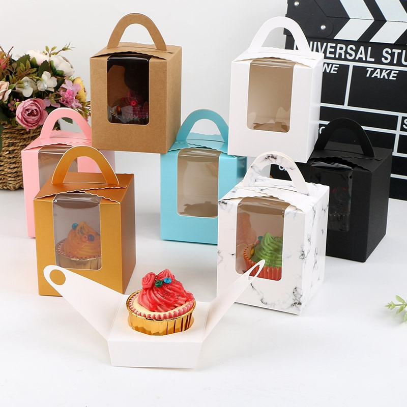 Kraft Paper Packing Box Portable Drawer Display Gift Box Wedding Cookie Candy Cake Boxes Cheese Box Mousse Dessert Containers
