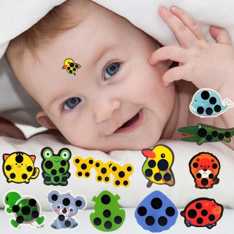 5pcs Baby Cute Cartoon Animal Sticker Forehead Head Strip Body Fever Thermometer Children Safety Baby Care Thermometer 30%off