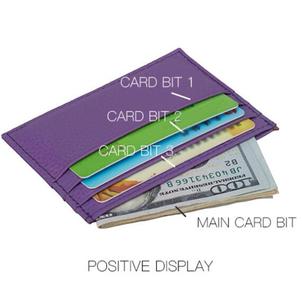 Genuine Leather Candy Colors Credit Card Cover Multi Slot Slim ID Cards Holder Fashion Solid Color No Zipper Card package