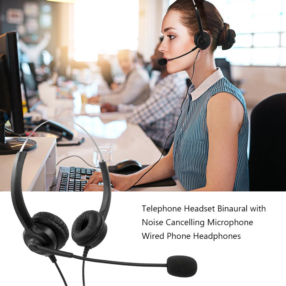 Telephone Headset Binaural With Noise Cancelling Microphone Wired Phone Comfortable In-ear Headphones For Customer Service Call